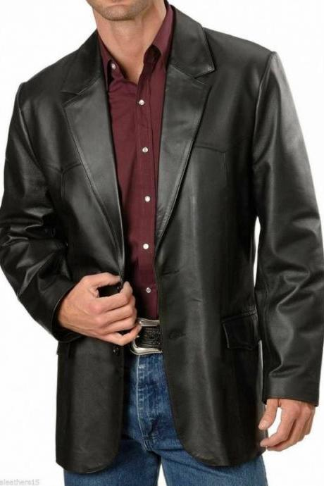 Mens Lambskin Genuine Black Leather Blazer #01
