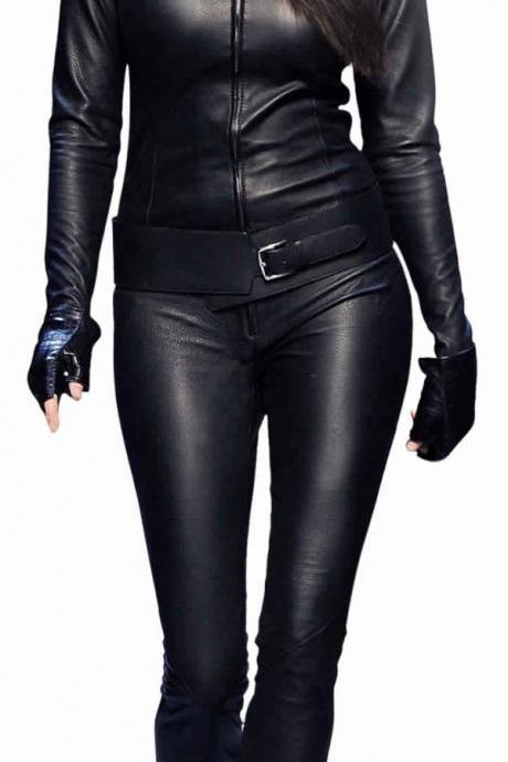 Womens One Piece Catsuit Black Leather Jumpsuit