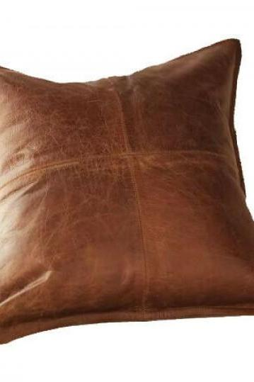 New Genuine Lambskin Leather Cushion Pillow Cover Sofa Decorative Antique Color
