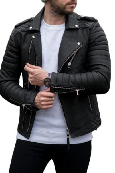 Mens Lambskin Genuine Black Motorcycle Biker Leather Jacket # ML_ 037