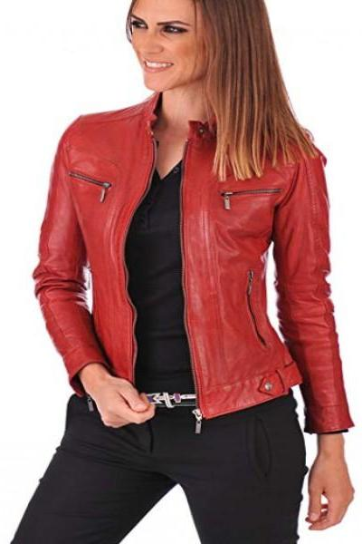 Women's Slim Fit Biker Style Red Real Leather Jacket_ 49