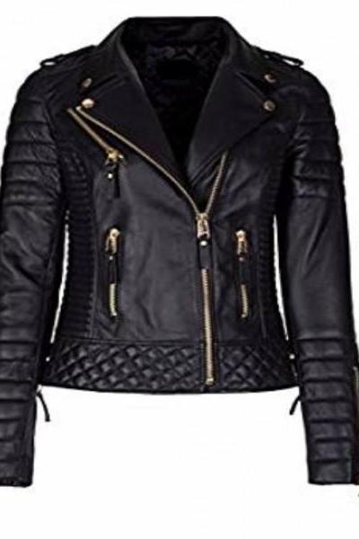 Women's Real Lambskin Leather Jacket Black Slim Fit Biker Motorcycle Jacket Coat_55
