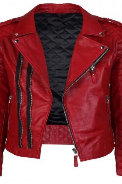Men's Genuine Lambskin Red Leather Jacket Motorcycle Biker Jacket Slim Fit _57