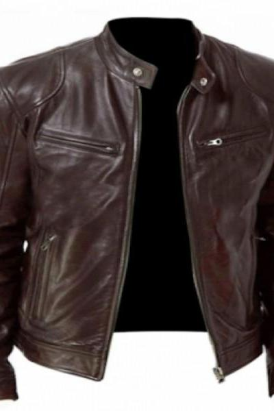 Men's Genuine Lambskin Brown Leather Jacket Black Slim fit Biker Motorcycle jacket_60